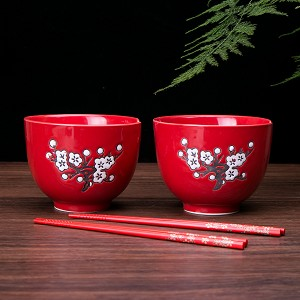 2 Rice / Soup / Noodle Bowls & 2 Paris Of Chopsticks Dinnerware Set Red, Plum Blossom & Calligraphy Design