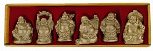 Hong Tze Collection-Set Of Six Brass Color Buddha
