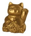 Fabulous Hong Tze Collection--Mini Lucky Cat Brass Color