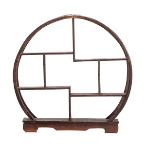 "TJ Global 7 Compartment Traditional Chinese Rosewood Round Wooden Display Shelf/Organizer for Tea Pots, Crafts, Figurines, Memorabilia, and Miniatures - 11.5"" x 11.5"""