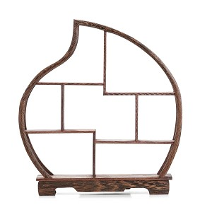 "TJ Global 7 Compartment Peach Shape Traditional Chinese Rosewood Peach Shape Wooden Display Shelf/Organizer for Tea Pots, Crafts, Figurines, Memorabilia, and Miniatures - 11.5"" x 12.5"""