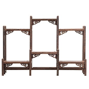"TJ Global 6 Shelf Traditional Chinese Rosewood Wooden Display Shelf/Organizer for Tea Pots, Crafts, Figurines, Memorabilia, and Miniatures - 13.5"" x 10"""