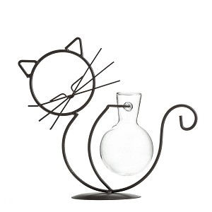 TJ Global Cat Glass Planter Vase Holder, Plant Terrarium, Propagation Station, Metal Stand for Hydroponics Plants Home Garden Wedding Decoration Outdoor Planter Ideas Modern Creative
