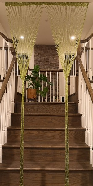 "String Curtain Room Divider Partition Door with Ribbon Thread, Tapestry, Fringe Window Panel Strip Tassel for House, Restaurant, Events, Photo Backdrop - W 39"" x H 79"" (1M X 2M) (Green)"
