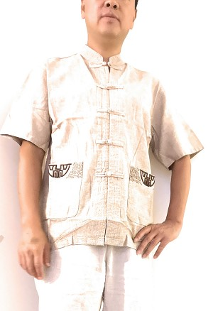 TJ Global Mens Traditional Chinese Linen Cotton Short Sleeves Tai Chi Kung Fu Mandarin Collar Frog-Button up Shirt - Oatmeal (Small)