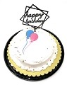 Happy Birthday Cake Topper Acrylic First Birthday Party Decoration, Favorite Topper for Cake Decorations (Black)