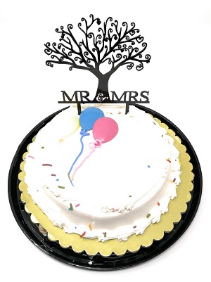 Mr and Mrs Cake Topper Acrylic Love Wedding Cake Topper Bride and Groom Cake Topper TOP009 (Black)