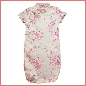 Girl's Short Sleeve Silk Qi Pao Dress