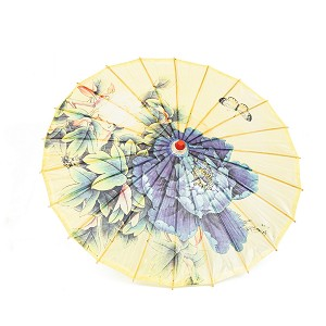 "Rainproof Handmade Chinese Oiled Paper Umbrella Parasol 33"" Peony and Butterfly, Yellow"