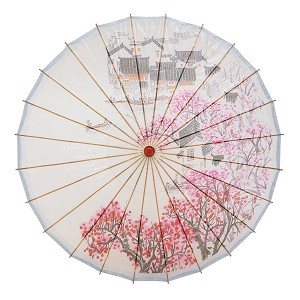 "Rainproof Handmade Chinese Oiled Paper Umbrella Parasol 33"" Village Scenery"