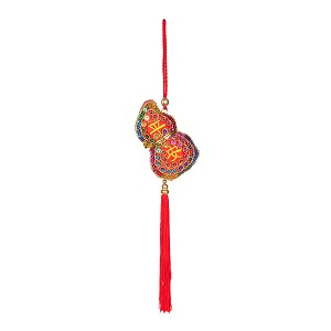 "Oriental Feng Shui Hulu Handcraft Knitted Sequin Embroidered  Chinese Traditional Ornamental Knot Tassel For Home, Car, Party & Holiday Decor ""Ping An"" (Peace)"