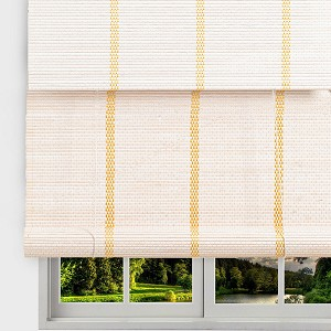 "TJ Global Bamboo Roll Up Window Blind Sun Shade, Light Filtering Roller Shades with Valence (White, 24"" x 64"")"