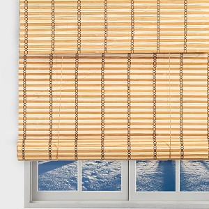 "TJ Global Bamboo Roll Up Window Blind Sun Shade, Light Filtering Roller Shades with Valence (Natural, 24"" x 64"")"