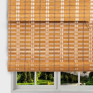 "TJ Global Bamboo Roll Up Window Blind Sun Shade, Light Filtering Roller Shades with Valence (Sarasota Camel, 24"" x 64"")"