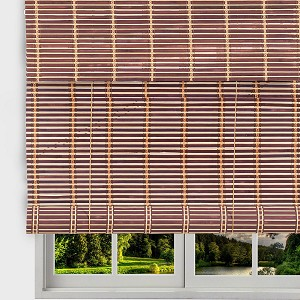 "TJ Global Bamboo Roll Up Window Blind Sun Shade, Light Filtering Roller Shades with Valence (Dark Brown, 24"" x 64"")"