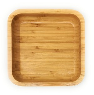 "Handcraft Natural Bamboo Salad Serving Bowl Fruit Plate Dessert Platter Lunch Tray Square (Lg 8.5"")"