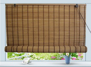 "Bamboo Roll Up Window Blind Sun Shade W48"" x H84"""