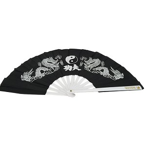 "13"" Dragon YinYang Design Kong Fu Fan Black"