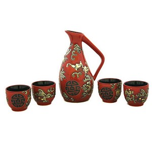 Glazed Ceramic 5 Pcs Japanese Sake Set In Wooden Gift Box
