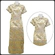 Chinese Silk Short Sleeve Long Qi Pao Dress