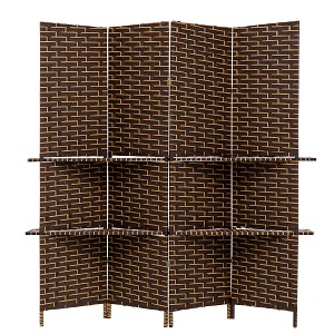 THY COLLECTIBLES Freestanding Woven Bamboo 4 Panels Hinged Privacy Panel Screen Partition Wall With 2 Display Shelves Holding Room Divider With Shelves-Bamboo (Darkmocha)