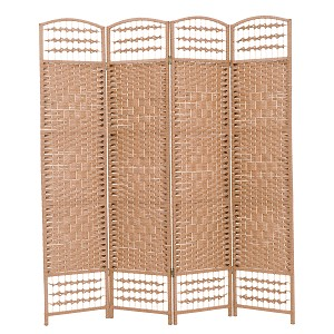 "THY COLLECTIBLES Decorative Freestanding Woven Bamboo 4 Panels Hinged Privacy Panel Screen Portable Folding Room Divider 62"" W X 68"" H (Brown)"