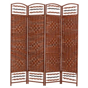 "THY COLLECTIBLES Decorative Freestanding Woven Bamboo 4 Panels Hinged Privacy Panel Screen Portable Folding Room Divider 62"" W X 68"" H (Red Orange)"