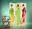 Double Sided Canvas Screen Room Divider - Three Geishas