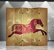 Double Sided Canvas Screen Room Divider - Lucky Horse