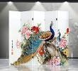 Double Sided Canvas Screen Room Divider - Double Peacocks