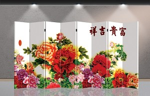 Double Sided Canvas Screen Room Divider - Flowers