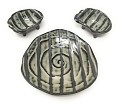 Ceramic Japanese Sushi for 2 Set, One Plate and Two Soy Sauce Dishes with Swirl Design