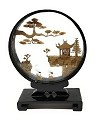 Beautiful Hand Carved Oriental Traditional Chinese Cork Sculpture Carving with Cranes, Trees, and Pagoda in Glass Display (L5.75 x W2 x H8)