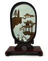 Beautiful Hand Carved Oriental Traditional Chinese Cork Sculpture Carving with Cranes, Trees, and Pagoda in Glass Display (L6.5 x W2.25 x H9) (Red) Tinted Glass