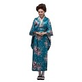 THY COLLECTIBLES Women's Silk Traditional Japanese Kimono Robe/Bathrobe / Party Robe (Lake Blue)