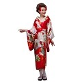 THY COLLECTIBLES Women's Silk Traditional Japanese Kimono Robe/Bathrobe / Party Robe (Red)