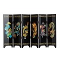 TJ Global 6-Panel Traditional Chinese Art for Home Decoration - Decorative Lacquerware, Home Decor, Lacquer, Oriental, Mini Divider (Dragons)