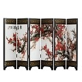TJ Global 6-Panel Traditional Chinese Art for Home Decoration - Decorative Lacquerware, Home Decor, Lacquer, Oriental, Mini Divider (Cherry Blossom)