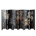 TJ Global 6-Panel Traditional Chinese Art for Home Decoration - Decorative Lacquerware, Home Decor, Lacquer, Oriental, Mini Divider (Warriors)