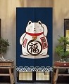 "Japanese Noren Doorway Curtain/Tapestry for Home or Restaurant - 33.5"" x 59"" (Blue Lucky Cat)"