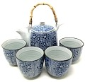 TJ Global Chinese Japanese Porcelain Tea Set with Blue Floral Design, 100% Handmade Traditional Tea Ceremony Set with Teapot and 4 Teacups
