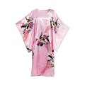 Home Flower Peacock Satin Silk Kimono Dress, Nightgown, Dressing Gown (Pink)