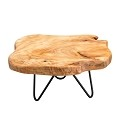 TJ Global Natural Edge Wooden Stand with Hairpin Legs for Displaying Cakes, Plants, Candles, Decor (L9 x W8.5 x H4)