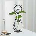 TJ Global Cat Glass with Heart Vase Planter, Plant Terrarium, Holder, Propagation Station, Metal Stand for Hydroponics Plants Home Garden Wedding Decoration Outdoor Planter Ideas Modern Creative