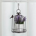 TJ Global Iron Birdcage Hanging Planter, Metal Wire Flower Pot Basket Wrought Iron Plant Stands for Plants, Flowers, Garden, Patio, Balcony Outdoor and Indoor Décor