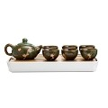 TJ Global Chinese/Japanese Ceramic Tea Set, 100% Handmade Traditional Tea Ceremony Set with Teapots, 6 Teacups, Bamboo Tea Tray with Drainage (Green)