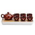 TJ Global Chinese/Japanese Ceramic Tea Set, 100% Handmade Traditional Tea Ceremony Set with Teapots, 6 Teacups, Bamboo Tea Tray with Drainage (Red)