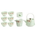 TJ Global Chinese/Japanese Mint Green Porcelain Tea Set, 100% Handmade Traditional Tea Ceremony Set with Teapots, 6 Teacups, Tea Strainer, and Gongdao Mug