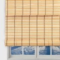 TJ Global Bamboo Roll Up Window Blind Sun Shade, Light Filtering Roller Shades with Valence (Natural, 24
