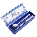 2 Pcs Elegant Oriental Inspiration Silver Stainless Steel Chopsticks & Spoon Set In Gift Box